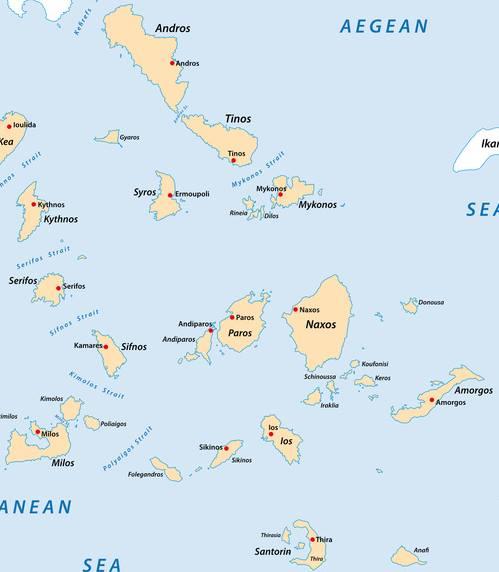 מפת האיים הקיקלאדים